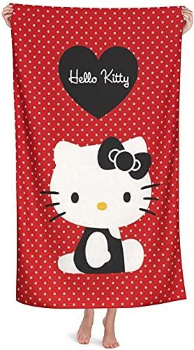 Hello Kitty - Toalla de playa (80 x 130 cm, absorbente, diseño de Hello Kitty, tamaño A1,100 x 200...