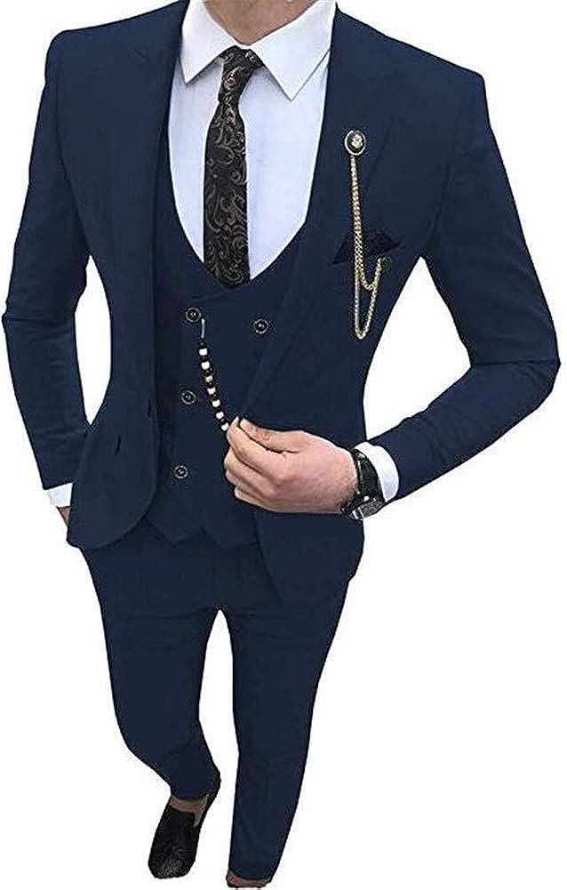 Slim Fit Men Suit 3 PCs(Jacket+Pants+Vest) Peak Lapel Casual Blazer Wedding Grooms Tuxedo