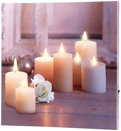 infactory LED Leinwandbild: Wandbild Kerzen mit Rose mit flackernder LED-Beleuchtung, 30 x 30 cm (Kerzenbild)