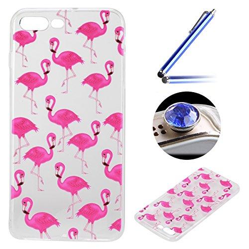 Etsue Doux Protecteur Coque pour iPhone 7 Plus,TPU Matériau Frame est Transparent Soft Cover pour iPhone 7 Plus,Coloré Motif par Dessin de Mode Case Coque pour iPhone 7 Plus + 1 x Bleu stylet + 1 x Bling poussière plug (couleurs aléatoires)-Flamant Rose