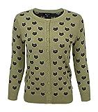 YEMAK Women's Knit Cardigan Sweater – 3/4 Sleeve Button Down Crewneck Cute Cat Pattern Casual Lightweight Knitted Top MK3466-OLV/BLK-M