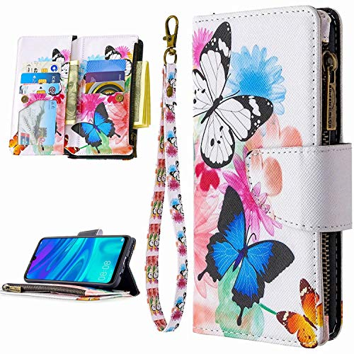 Miagon 9 Kartensteckplätzen Lederhülle für Huawei P Smart 2019,Bunt Reißverschluss Flip Hülle Wallet Case Handyhülle PU Leder Tasche Schutzhülle,Schmetterling Blume
