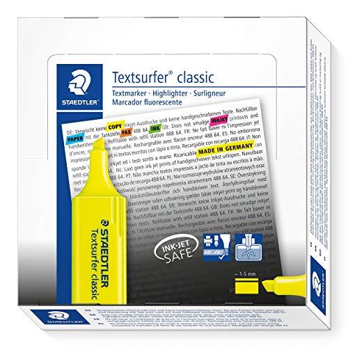 Staedtler 364-1. Rotuladores fluorescentes Textsurfer. Estuche con 10 marcadores de color amarillo.
