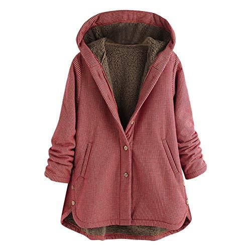 SHANGYI damesjack met capuchon, asymmetrisch, geruit, retrostijl, grote maten, warme winterjas voor dames