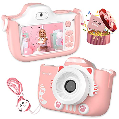 CamOn Digital Kids Camera for Girls - Selfie Camera for Kids Age 3+ with Flash 32 GB - 12 MP Premium Toddler Camera HD 1080P - Perfect Children Birthday Gifts - Pink Toy Photo Video Cameras for Girl