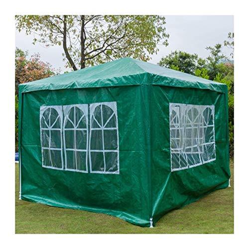 Plztou Gazebo resistente al agua Carpa 3x3 Carpa Toldo Toldo con 4 paneles laterales desmontables y polvo marco de acero cubierto de Día de la Familia al aire libre partido de la boda del jardín, verd