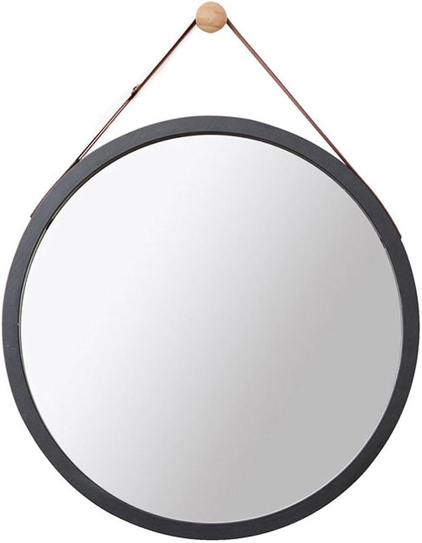 Wall-Mounted Bathroom Mirror Dressing Mirror, Wall Mirror,Multicolor Round Hanging Mirror (color   Black, Size   38cm)