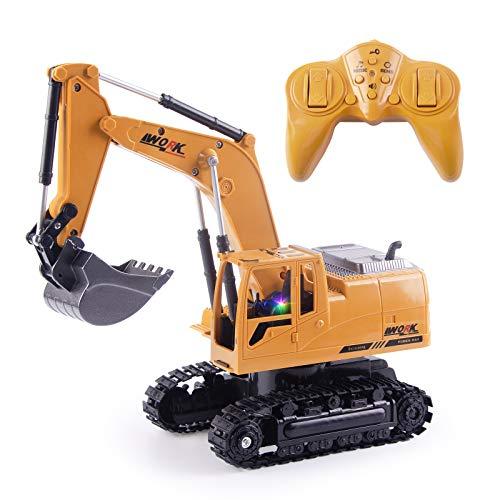 Highttoy Ferngesteuerter Bagger, 2,4 GHz 8 Kanäle RC Bagger für Jungen 6-12 RC Bagger Traktor Spielzeug mit Lichtern und Musik Fernbedienung Bagger Spielzeug für Kinder
