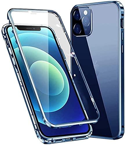 Cover per iPhone 12 PRO Max (6.7') 5G Adsorbimento Magnetico Paraurti in Metallo con 360 Gradi Protezione Antiurto Case Doppi Lati Trasparente Vetro Temperato Flip Custodia per,Blu