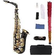 ammoon bE Alto Saxophone Laiton Laqué Or E Flat Sax 82Z Touches Type d'instruments à Vent avec Brosse de Nettoyage en Tissu Gants Padded Case Bandoulière