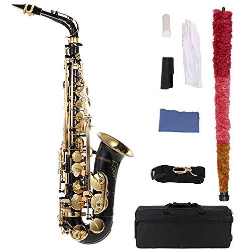 ammoon Saxofon Alto bE Latón Lacado Oro E Plano Tipo de Clave de Sax 82Z Instrumento de Woodwind con Cepillo de Limpieza Guantes Correa de Grasa Acolchado Caja