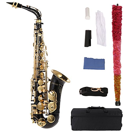 bE Alto Saxophone Brass Lacquered Gold E Flat Sax 82Z Key Type Woodwind Instrument with Cleaning Brush Cloth Gloves Strap Padded Case