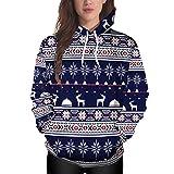 Cinnamou Sweats à Capuche Femme Manches Longues Noël Sweat-Shirt imprimé Impression Pull Veste Chaud Grand Taille