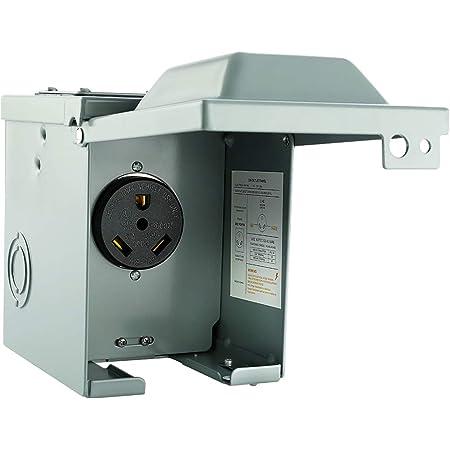 WEBANG 30 Amp RV Power Outlet Box,Enclosed Lockable Weatherproof Outdoor 125 Volt Electrical NEMA TT-30R 30amp RV Receptacle Panel for RV Camper Travel Trailer Motorhome,ETL Listed