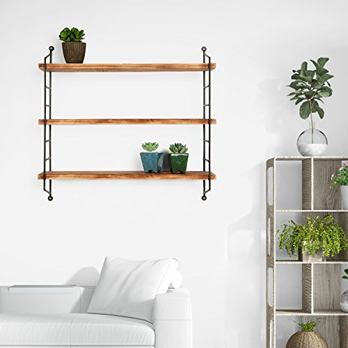 MyGift 23-Inch Modern Floating Shelves Industrial Metal and Torched Wood Adjustable Wall Mounted 3-Tier Display Shelf
