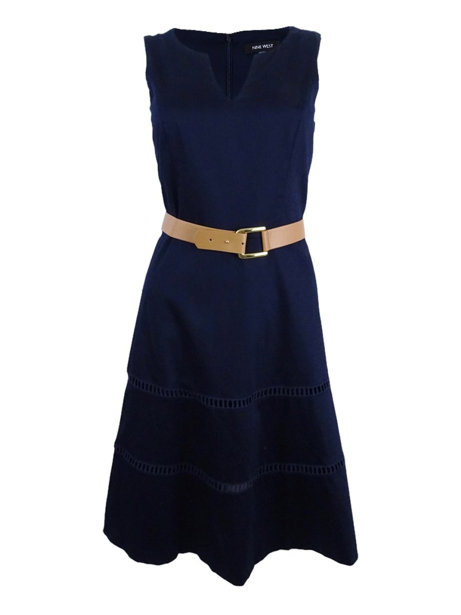 Available at Amazon: NINE WEST Women's Sleeveless Belted Fit & Flare Dress with Hem Detail