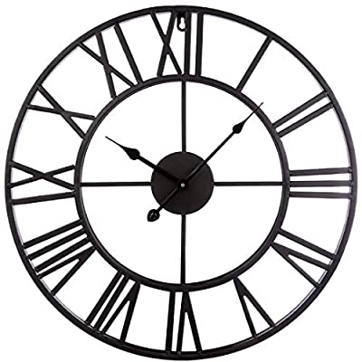 TOPPTIK Wall Clock-16 inch European Retro Clock 40cm Large Roman Numerals Silent Non-Ticking Battery Operated Decorative for Home/Living Room/Kitchen/Cafe/Bar/Hotel(Black)