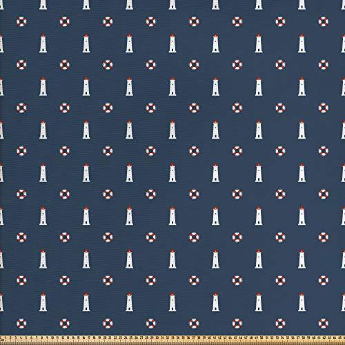 ABAKUHAUS Faro Tela por Metro, Boyas De Vida Náuticas, Decorativa para Tapicería y Textiles del Hogar, 5M (148x500cm), Gasolina Azul Blanco Rojo