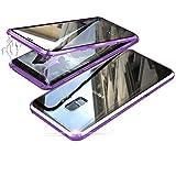 Jonwelsy Funda para Samsung Galaxy S9 Plus, Adsorción Magnética Parachoques de Metal con 360 Grados Protección Case Cover Transparente Ambos Lados Vidrio Templado Cubierta para Samsung S9+ (Morado)