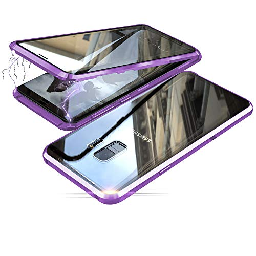 Jonwelsy Funda para Samsung Galaxy S9, Adsorción Magnética Parachoques de Metal con 360 Grados Protección Case Cover Transparente Ambos Lados Vidrio Templado Cubierta para Samsung S9