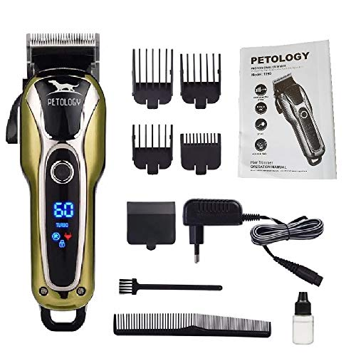 Petology Automatic Rechargeable Professional Pet Hair Trimmer with LCD Display and Turbo Mode for Dog and Cat (Green and Black)