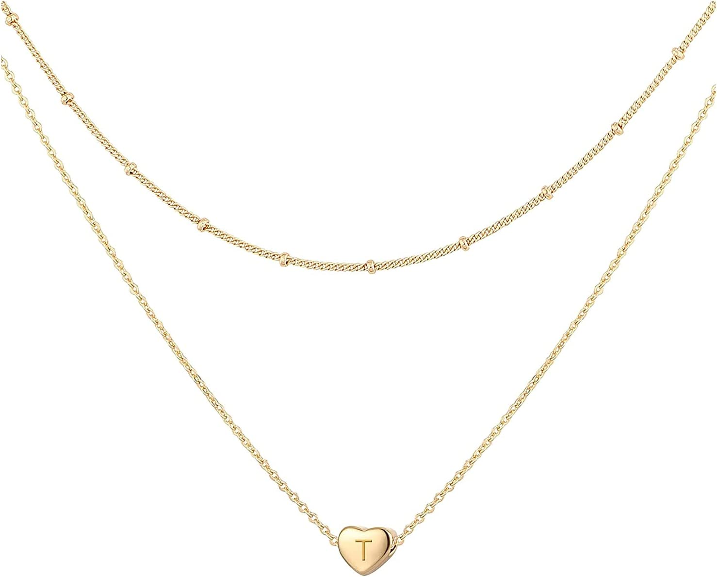 Mul-king Fashion Initials Layered Necklaces for Women, Heart Engraved Alphabet Necklace Personalized Tiny Letter Name Necklace Love Jewelry Gift for Women Girls (T)