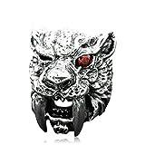 Aooaz Herren Ringe 925 Silber Punk Ring Tiger Zirkonia Rot Ring Gr.54 (17.2)