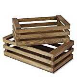 Flexzion Set de 2 Cajas de Madera con Asas para Almacenamiento y organización, Cajas Decorativas del Estilo rústico para exhibición, Fiesta, Cocina, Sala de Estar, hogar y casa (Estilo rústico)