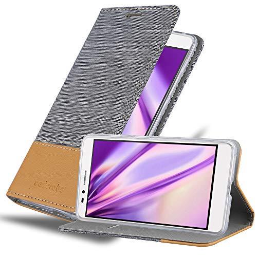 Cadorabo Hülle für Huawei Honor 5X / Play 5X / Huawei GR5 in HELL GRAU BRAUN - Handyhülle mit Magnetverschluss, Standfunktion & Kartenfach - Hülle Cover Schutzhülle Etui Tasche Book Klapp Style