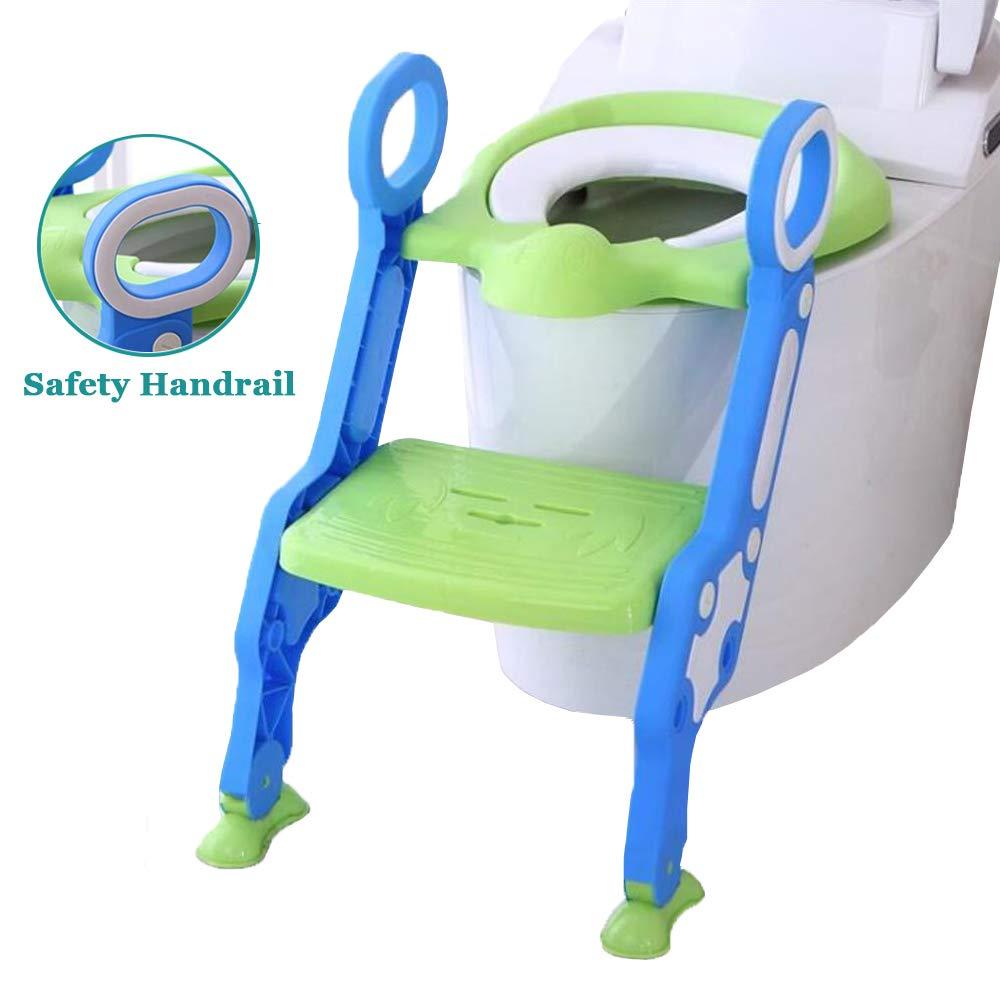 JFMBJS Aseo Escalera Asiento con Soft PU Cushion,Pedal de Altura Ajustable, Escalera del Tocador de Niños Asiento para WC con Escalón Plegable Orinal Formación,Blue: Amazon.es: Hogar