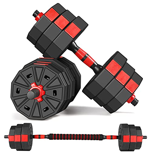 Dumbbells Set, 66Lbs Adjustable Weight, Home Fitness Equipment for Men and Women Gym Workout Exeroocise Training with Connector Used as Barbell (Pair)