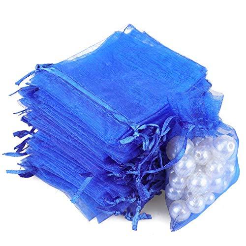 G2PLUS 100PCS Bolsas de Organza Azul real Bolsas de Organza de Regalo Bolsitas de Tela para Boda Favores y Joyas 9x7cm