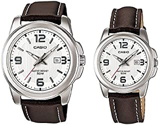 Casio His & Hers White Dial Leather Band Couple Watch - MTP/LTP-1314L-7AV