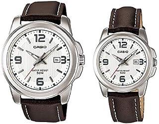ساعة للثنائي بمينا بيضاء وسوار جلد من مجموعة هيز اند هيرز من كاسيو- MTP/LTP-1314L-7AV