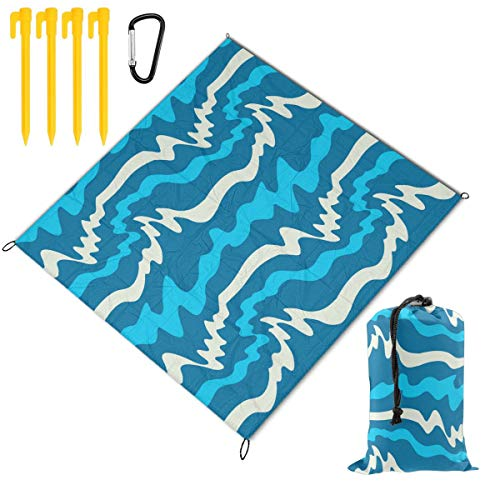 Great Deal! Hucuery Picnic Blanket 59 X 57 in with Waves Vector Image Foldable Waterproof Extra Large Picnic Mat, Can Be Used for Picnic Beach Outdoor Picnic Mat