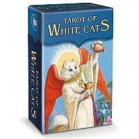 78枚のカード/ホワイト猫のタロット、将来の運命、口の占いゲーム、ボードトランプ、ベーシックデッキ、首尾一覧、カタロ,Tarot Card+Bag