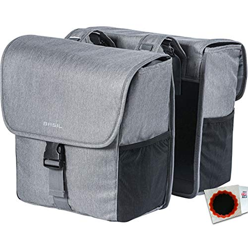 Basil Doppeltasche GO Double Bag 32L Grey Melee Fahrrad Tasche + SCHLAUCHFLICKEN