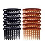 Lurrose 17 dents en plastique pince à cheveux peignes Vintage petits peignes latérales de cheveux pour les femmes filles utilisation quotidienne (6pcs café foncé + 6pcs noir, 8x5cm)