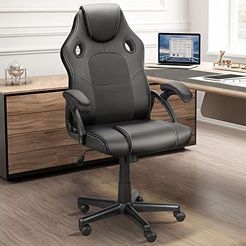 Ninecer Ergonomic Gaming Chair Computer Chair, High Back Racing Style Cheap Office Chair, Comfortable Armrest PU Material Height Adjustable Adult/Teens Silent Roller (Black)