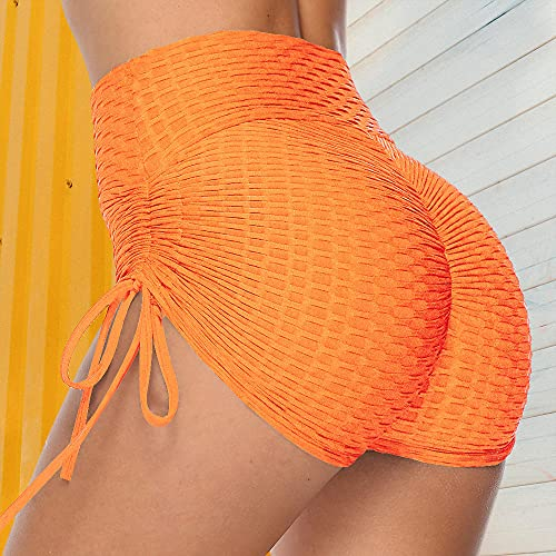ArcherWlh Yoga Pants For Women High Waist,Pantalones Cortos Ajustados Sexy de Mujeres Europeas y Americanas. Pantalones de Yoga de Burbujas de Color Puro-4# Naranja_S