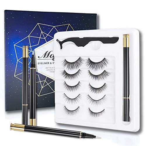 ONLYOILY 2020 Nuovo set di ciglia non magnetiche senza colla, ciglia 3D di terza generazione con eyeliner liquido impermeabile, riutilizzabile e con pinzette gratuite per l'uso