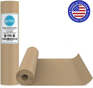 """Brown Kraft Paper Jumbo Roll - 18"""" x 1200"""" (100ft) - Food Grade FDA Approved – Great Smoking Wrapping Paper for Meat of All Varieties– Made in USA– Unwaxed and Uncoated (Brown - 18""""x100`)"""