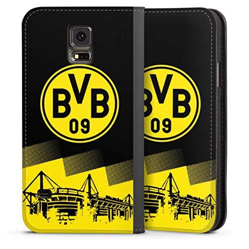 DeinDesign Klapphülle kompatibel mit Samsung Galaxy S5 Handyhülle aus Leder schwarz Flip Case BVB Borussia Dortmund Stadion