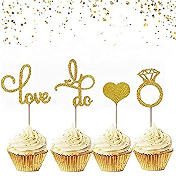 JeVenis Set of 44 Glitter Wedding Cupcake Toppers Diamond Ring Cupcake Toppers I Do Cupcake Topper for Wedding Engagement Bridal Shower Decorations