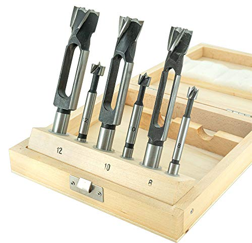 ENT 09150 6-tlg. Zapfenschneider und Forstnerbohrer Set WS - Ø 8-10 - 12 mm - für Verbinder, Dübel und Zapfen
