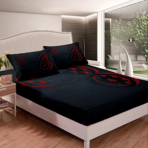 Boys Gamer Bed Sheet Set Cut Gamepad Bed Sheets for Kids Teens Youth Modern Video Game Controller Bedding Set Red Gaming Decor Black Printed Fitted Sheet Bedroom Collection 3Pcs Full Size