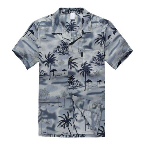 Hombres Aloha Camisa Hawaiana en Puesta de Sol y Paisaje Gris M