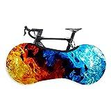 Copriruota per Bicicletta, Elasticità Copri-pneumatici Copriruota per Mountain Bike per Esterni Interni Adatto per Pneumatici 26-29 Pollici Mountain, Road, MTB Bike (Red Blue Flame,26-29 Inches)