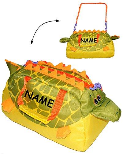 alles-meine.de GmbH Sporttasche / Babytasche - Krokodil - incl. Name - Reisetasche - Tragetasche / Sportbeutel Schulsporttasche - für Kinder & als Baby Tasche - Tier - Freizeitta..