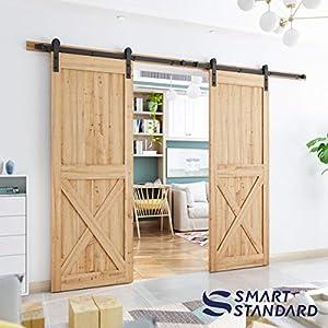 SMARTSTANDARD 10ft Heavy Duty Double door Sliding Barn Door Hardware (Black) (I Shape Hangers)